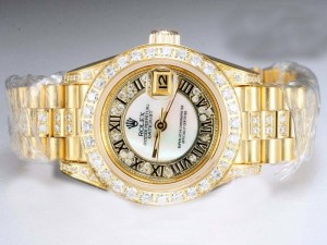 Rolex-Datejust-Automatic-Diamond-Bezel-And-Marking-White-Dial-Lady-Size-Watch-Rolex5047